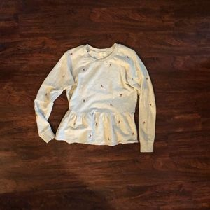Anthropologie Embroidered Rose Peplum Sweater
